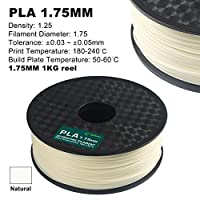 Century 3D PLA Printer Filament 1.75mm 1kg spool 2.2 pounds Dimensional Accuracy +/- 0.05 mm (Natural) from Century Products