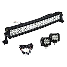 Led Light Bar, Enk 22 Inch 120W Led Curved Spot Flood Combo Light Bar Waterproof 12000 LM Lighting for Jeep SUV Ford Dodge 4WD Ram Pickup with 2 Pcs of 4 Inch CREE Led Light bar and Wiring Harness