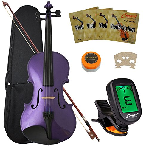 Crescent 4/4 Size Student Violin Starter Kit, Purple Color (Includes CrescentTM Digital E-Tuner)