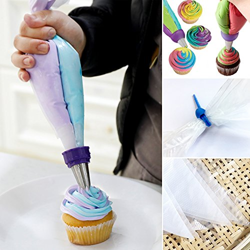 100 Pcs Disposable Decorating Bags and 2 Pcs Reusable Pastry Bags 16 Inch Larger Thicken Icing Piping Bags for Cupcakes Baking Lover Non Slip Frosting Bags with 5 Bag Ties by Banoy (Image #1)