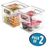 mDesign Plastic Kitchen Pantry Cabinet, Refrigerator or Freezer Food Storage Bins with Handles - Organizer for Fruit, Yogurt, Snacks, Pasta - Food Safe, BPA Free, 6'' Cube - 2 Pack, Clear