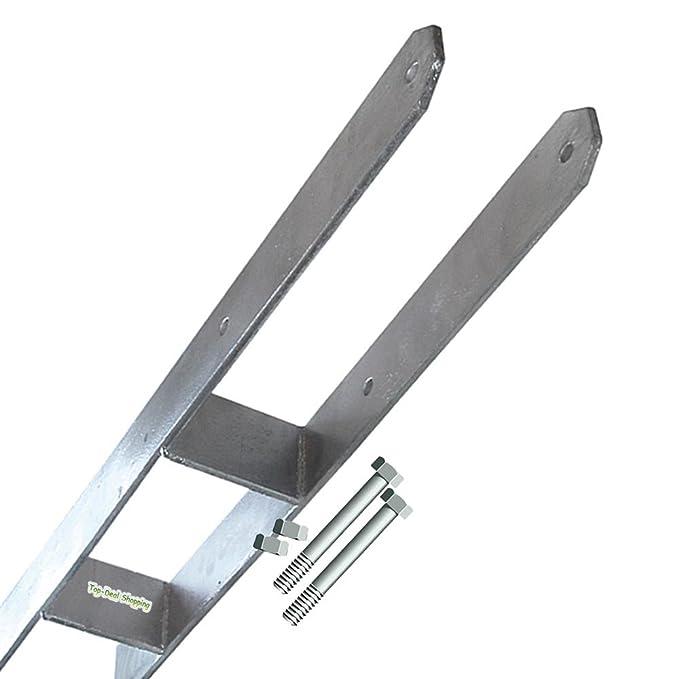 2-er Set H-Anker für 14 cm Pfosten Schrauben Pfostenträger Betonanker