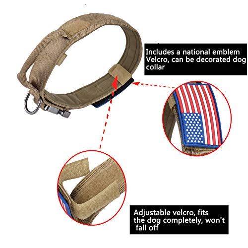 AIRGOOD Tactical Dog Collar K9 Pet Dogs with USA American Flag Patch - Military Training Collar Adjustable Nylon Heavy Duty Metal Buckle and Handle for Medium Large Dogs Size L