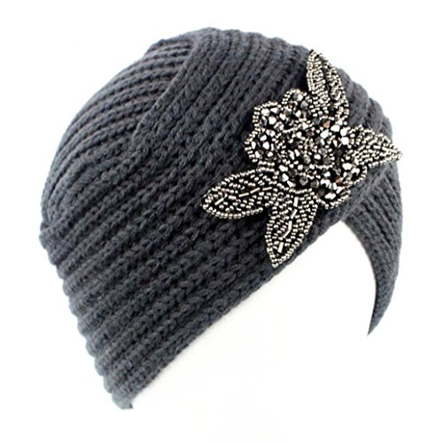 Crochet Stretch Cap (Haoricu Women Hat, 2018 Fashion Womens Winter Warm Diamond Knit Crochet Hat Braided Headdress Cap (❤️Gray))