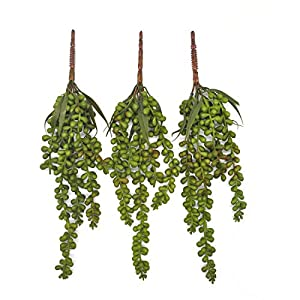 Lanldc 3 Pcs Artificial Hanging Plants Faux Succulent Artificial Hanging String of Pearls Plant String of Pearls for Home Garden Wedding Decor 55