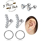 FIBO STEEL 16G Cartilage Tragus Earrings Set for Women Girls Helix Conch Daith Piercing Jewelry