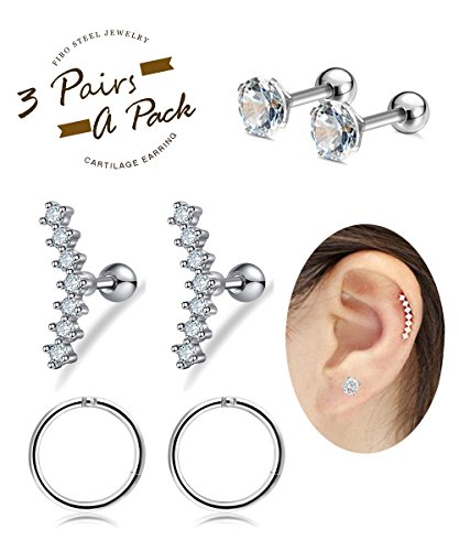 FIBO STEEL 16G Cartilage Tragus Earrings Set for Women Girls Helix Conch Daith Piercing Jewelry (Earrings Jewelry Mens)