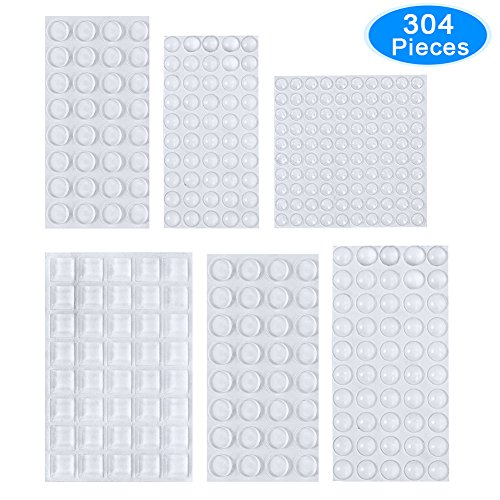 Rubber Feet, AUSTOR 304 Pieces Clear Adhesive Bumper Pads Self Stick Furniture Bumpers Buffer Pads, 6 Sizes for Doors, Cabinets, Drawers by AUSTOR