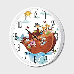 Wall Clock Silent Non-Ticking Decorative Round Quartz,Noahs Ark,Noahs Ark Cartoon Style Snake Butterflies Bees Insects Fishes Toucan Wildlife,for Office,Bedroom,10inch