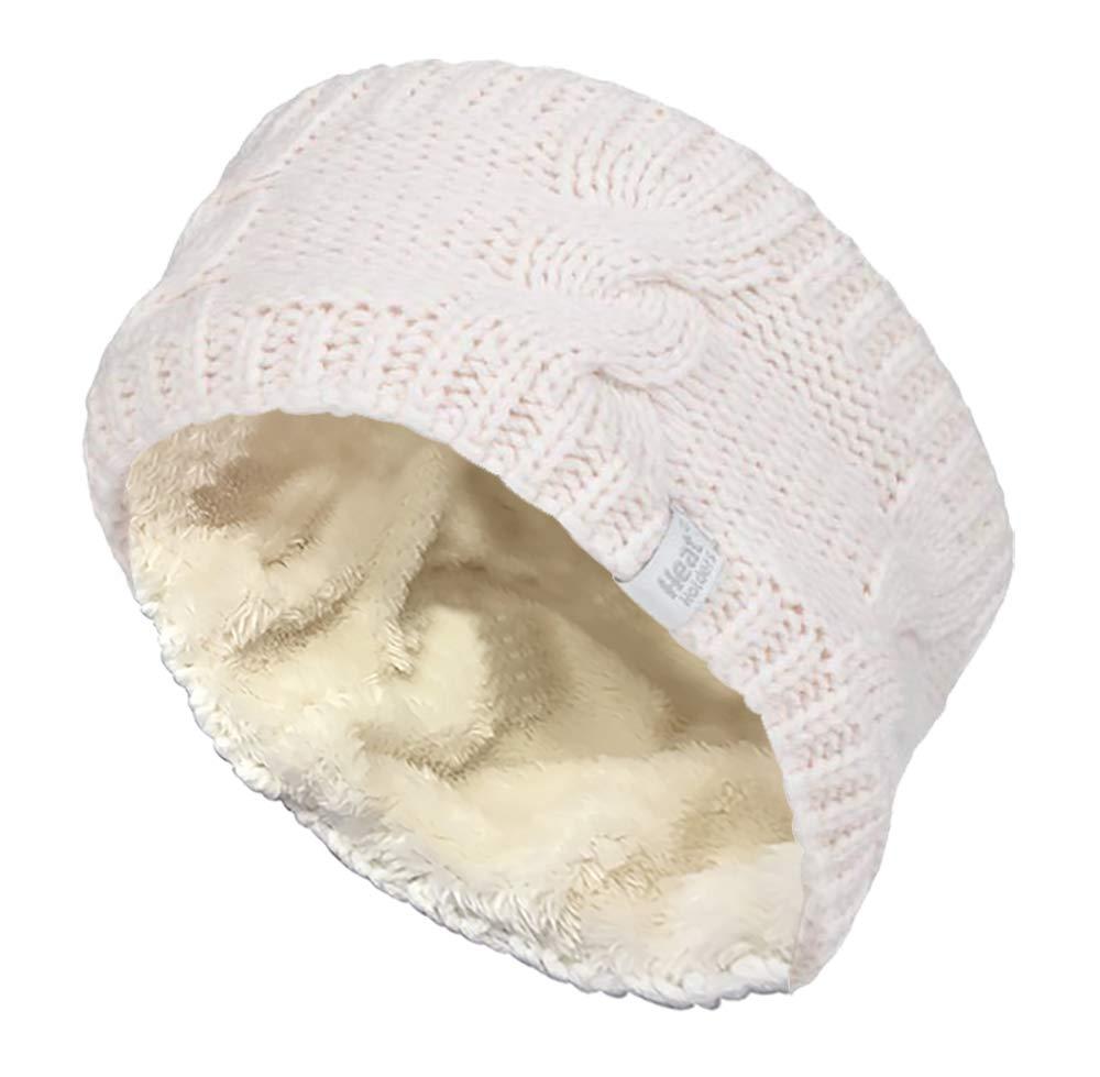 Heat Holders - Womens Warm Fleece Lined Knit Thermal Winter Ear Warmer Headband (One Size, Cream)