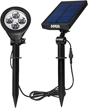 Amazon.com: AMIR - Luces solares 2 en 1, ajustables a 180 ...