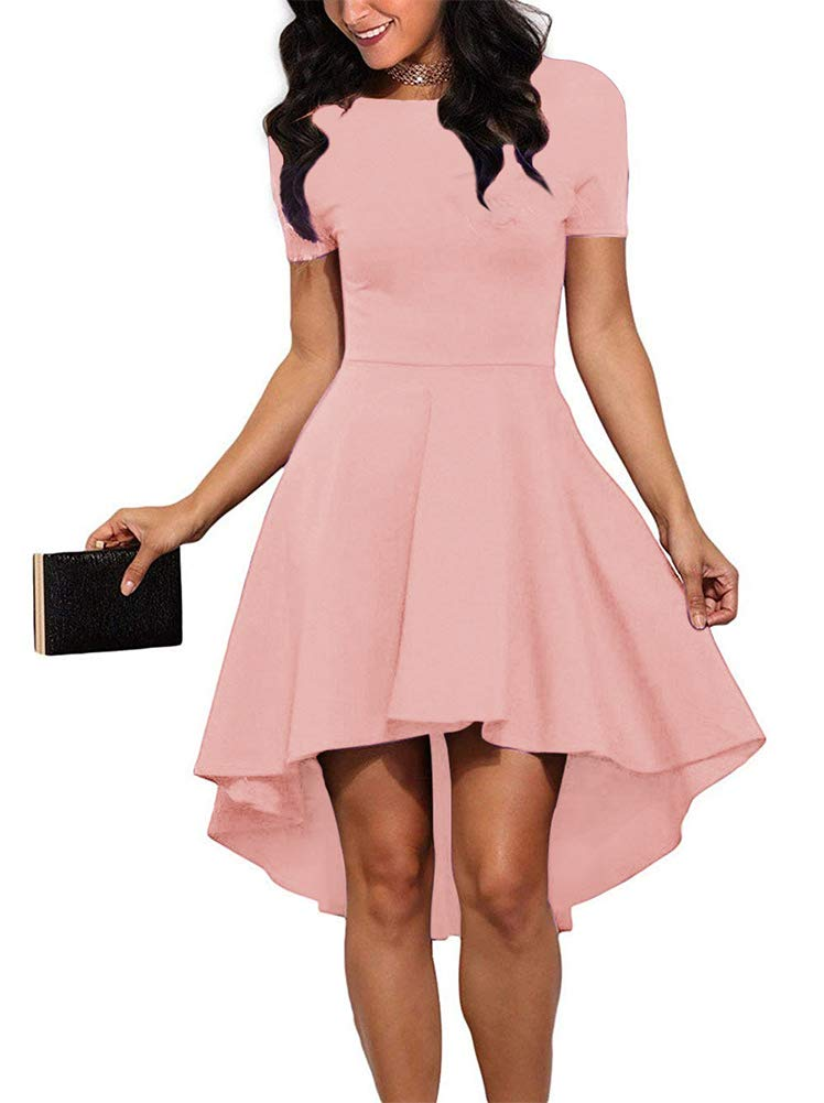 d5a57313780 ReoRia Women Womens Scoop Neck Short Sleeve High Low Cocktail Party Skater Dress  Blush Pink X-Large .