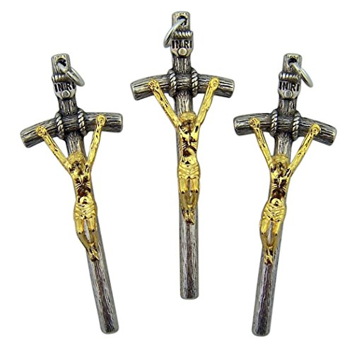 Religious Gifts Silver Toned Base Papal Cross Crucifix with Gold Tone Christ Corpus, Lot of 3, 2 Inch