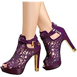 Getmorebeauty Women's Pretty Lace Flowers Open Toes High Heels Ankle Boots (8 B(M) US, Purple)