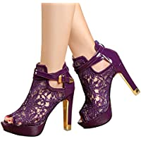 getmorebeauty Women's Pretty Lace Flowers Open Toes High Heels Ankle Boots