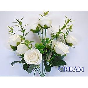"""Phoenix Silk 2 Bushes Small Rose Buds 10 Artificial Silk Flowers 13"""" bouquet 5036 92"""