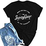 Mikilon Women?s Sunshine T-Shirt Cute Letter Print Short Sleeve Tee Top Funny Graphic T-Shirt Black