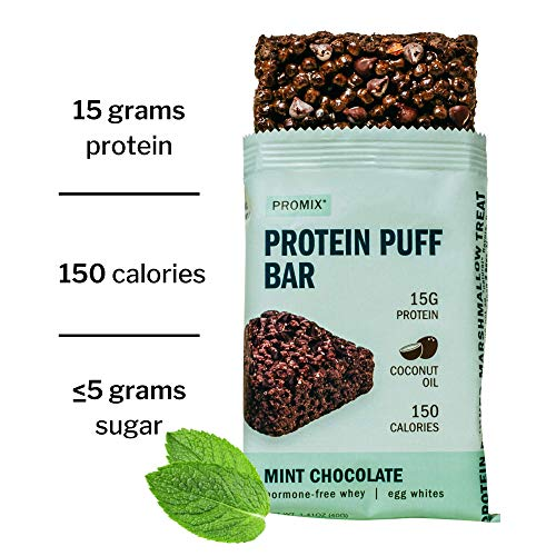 Promix Whey Protein Isolate Puff Bar, Mint Chocolate, 12 Count, 16.9oz | 15g Protein, 150 Calories Each | Low Carb Healthy Snack with Egg Whites | All Natural, Grass Fed, Gluten Free, Low Sugar