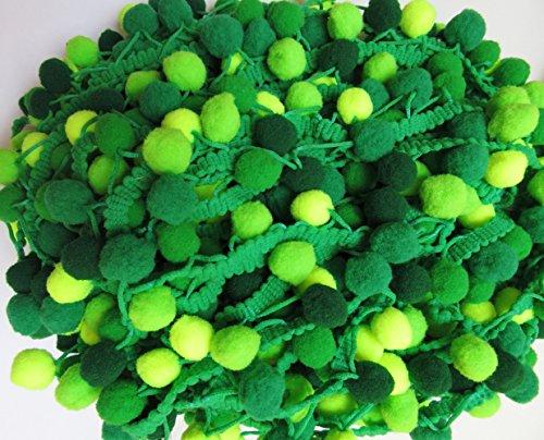 YYCRAFT Top Quality Rainbow Green Pom Pom Ball fringe Trim Ribbon Sewing(5 Yards)