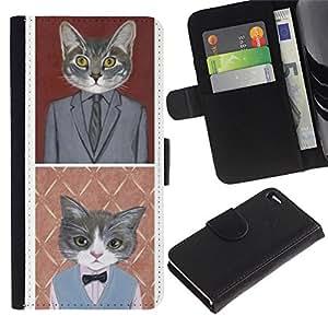 Apple iPhone 4 / iPhone 4S Modelo colorido cuero carpeta tirón caso cubierta piel Holster Funda protección - Business Cat Funny Cute Pop Art Suit