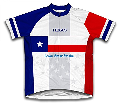 ScudoPro Texas Flag Short Sleeve Cycling Jersey for Women - Size M Blue