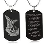 FAYERXL St Michael The Archangel Latin Prayer Dog Tag Necklace Military Pendant Christian Faith Jewelry (Saint Michael Archangel)