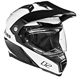 Voss 601 D2 Dual Sport Helmet with Integrated Sun Lens and Ratchet Quick Release System - XL - Gloss White Diamond
