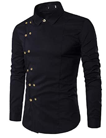d2705c403d6 Zimaes-Men Solid Plus Size Slim Fit Double-Breasted Western Shirt Black  Small