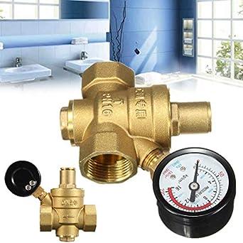 Utini Regulador de presión de agua ajustable de latón DN20 NPT 3/4 ...