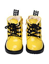 Changeshopping Toddler Girls Boys PU Leather Flat Pumps Ankle Boots Kids Snow Shoes