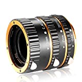Neewer 3 Pieces Metal Auto Focus Macro Extension Tube Set 13mm,21mm,31mm for Canon EOS EF EF-S Lens DSLR Cameras,such as Canon 7D Mark II,5D Mark II III IV,1300D,1200D,750D,700D,600D,80D,70D,60D(Gold)