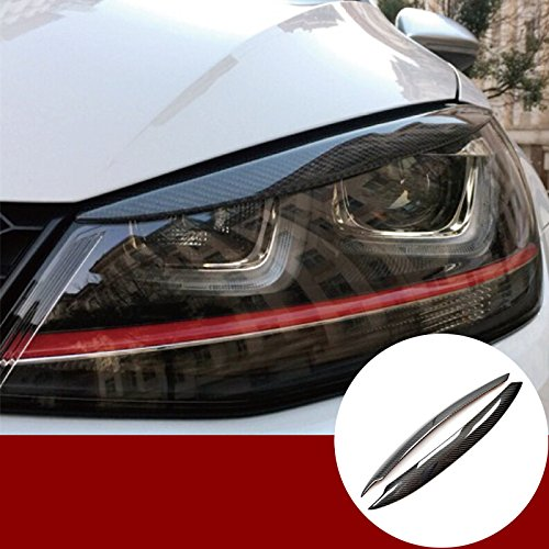 Carbon Fiber Front Headlight Eye Lid Eyebrow Cover Trim for VW Golf 7 GTI GTD Mk7 -