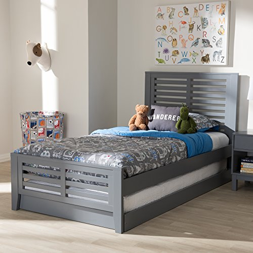 Baxton Studio Sedona Modern Classic Mission Style Grey-Finished Wood Twin Platform Bed with Trundle/Twin/Mission/Grey/Light Wood/Rubber Wood/Poplar/LVL ()