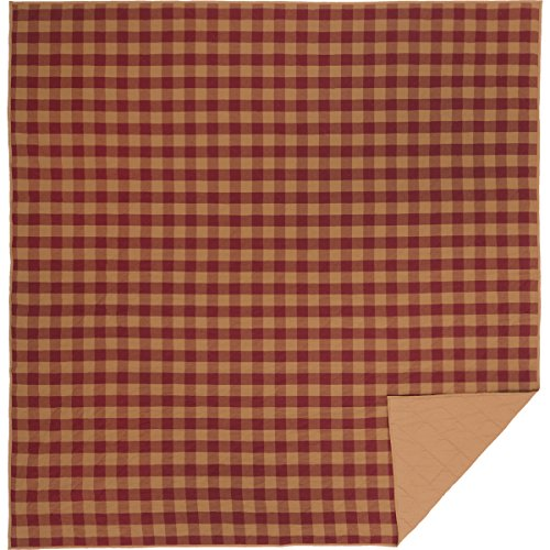 VHC Brands Primitive Bedding Burgundy Check Quilted Coverlet, Queen,