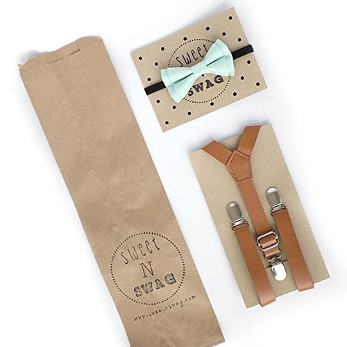 SUSPENDER & BOW TIE Set. Sweetnswag Mint Denim Bow tie with Light Brown Leather Suspenders. Infant - Adult. Photography prop, Weddings.