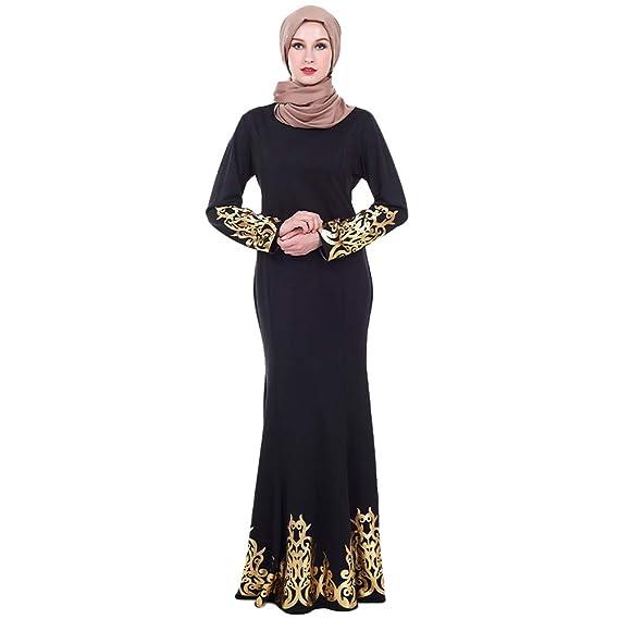 522463898b Meijunter Muslim Dress for Women - Long Sleeve Abaya Gold Print ...