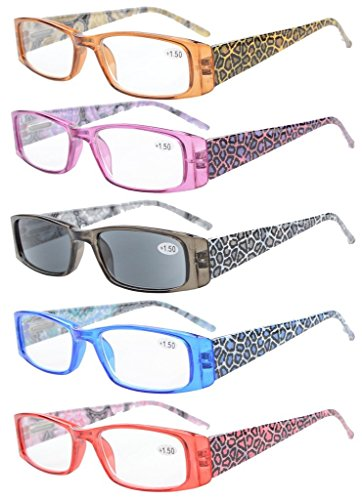 (Eyekepper 5-Pack Spring Hinges Tiger Patterned Temples Rectangular Reading Glasses Sunshine Readers +2.25)