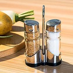 JD Million shop 2pcs/set Glass Spice Jar Seasoning Box Salt Sugar Pepper Shaker Condiments Bottle Holder Kitchen Table New product Promotion