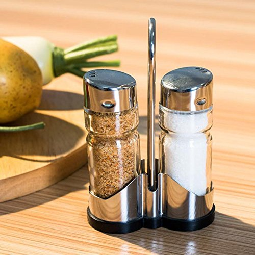 JD Million shop 2pcs/set Glass Spice Jar Seasoning Box Salt Sugar Pepper Shaker Condiments Bottle Holder Kitchen Table New product Promotion (Bottle Kids Water Deere John)
