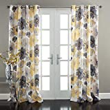 "Lush Decor Leah Floral Darkening Yellow and Gray Window Curtain Panel Set for Living, Dining Room, Bedroom (Pair), 84"" L"