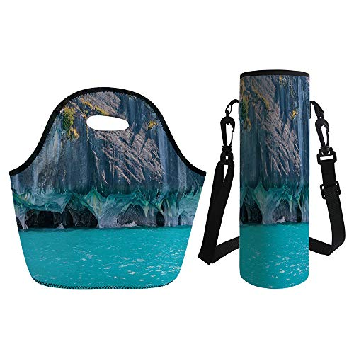 3D Print Neoprene lunch Bag with Kit Neoprene Bottle Cover,Turquoise,Marble Caves of Lake General Carrera Chile South American Natural,Turquoise Purplegrey Green,for Adults Kids