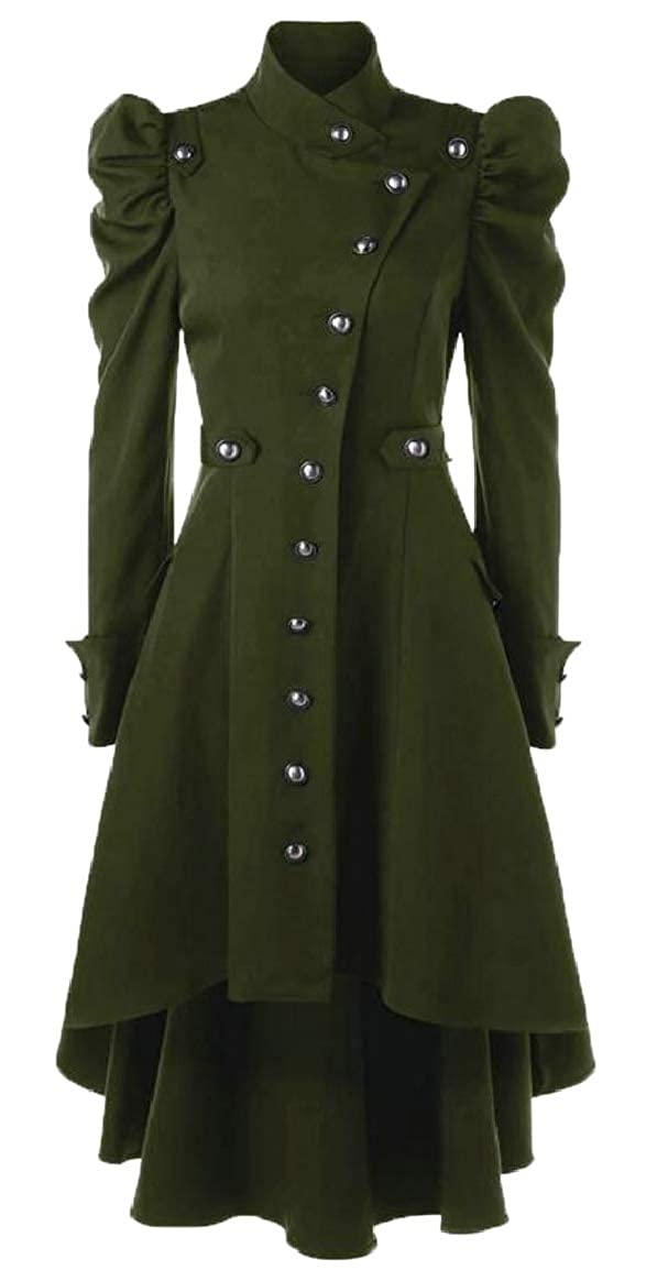 Green pujinggeCA Women Jacket Vintage Steampunk Long Coat Gothic Overcoat Retro Tops