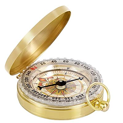 Ezyoutdoor Waterproof Portable Pocket Watch Flip-Open Compass Hiking Camping Survival Gear Compass Outdoor Navigation Tools - Gold
