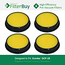 4 - Eureka DCF25 (DCF-25) Washable & Reusable Filters, Eureka Part # 67600 & Electrolux Part # 82982. Designed by FilterBuy to fit Eureka Airspeed, SuctionSeal & Endeavor NLS.