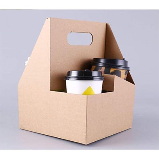 BESTONZON 10pcs 4 Copa Kraft Drink Carrier con asas para bebidas calientes de café