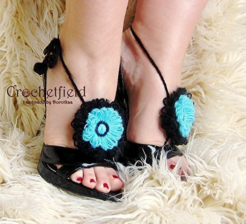 (Bicolor Floral crochet Anklet, Barefoot Sandals lace, beach pool party, wedding shoes, Foot jewelry, leg chain, leglet, night out party, yoga, bellydance jewelry.)