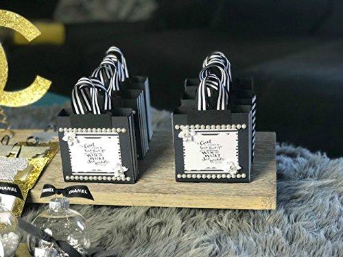 Fashionista Black & White Stripe Bag Ornaments -