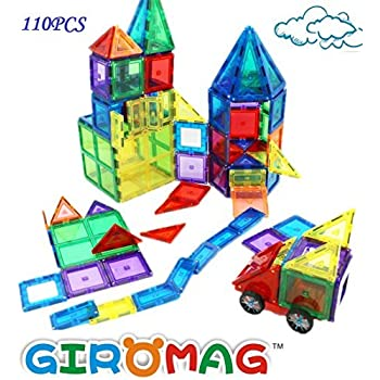 110 PCS Giromag Magnetic Building Blocks For Kids 100 PCS Magnetic Tiles With Car Wheels and 10 PCS Extra Bonus Magentic Construction Panels
