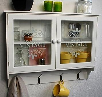 Hängeschrank küche  Livitat® Wandschrank Küchenregal Hängeschrank Glastüren Landhaus ...