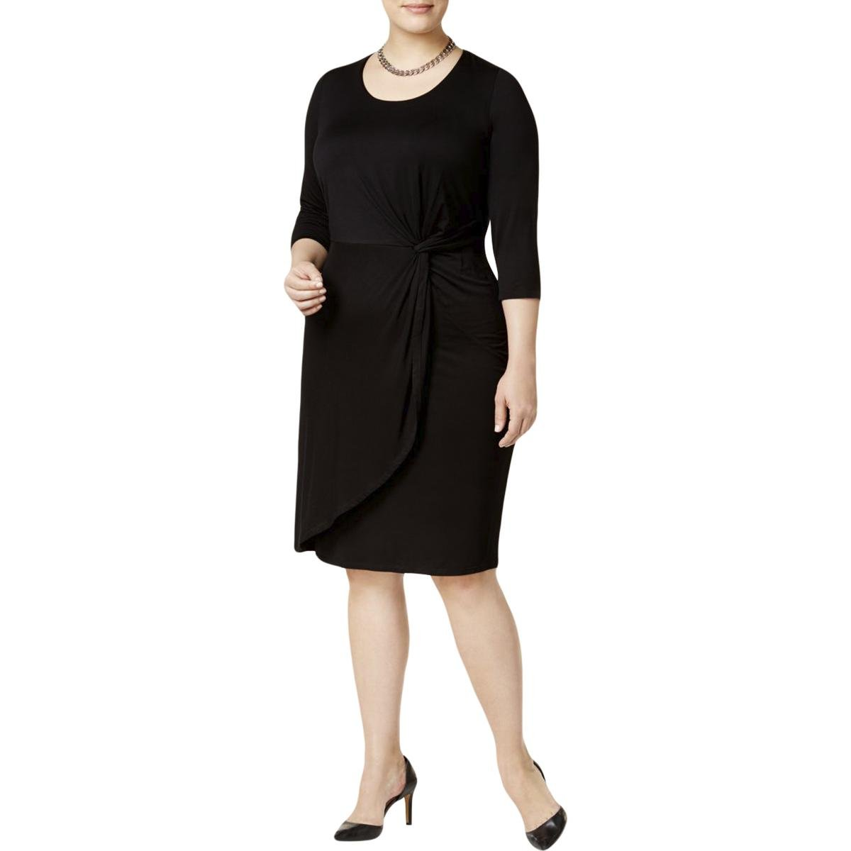 8165912fd40 INC International Concepts Plus Size Knotted Faux-Wrap Dress (3X) at Amazon  Women s Clothing store